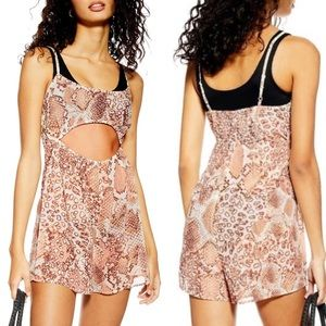 NEW Topshop • Snakeskin Print Cut Out Romper